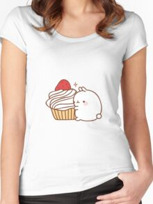 Molang with cupcake Women's Fitted Scoop T-Shirt