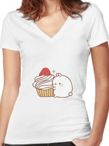 Molang with cupcake Women's Fitted V-Neck T-Shirt