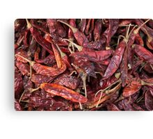 Dried Chili Peppers Canvas Print