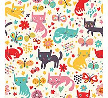 cute cats,multi colors,fun,happy,hipster,kids,pattern,girly,modern,trendy Photographic Print