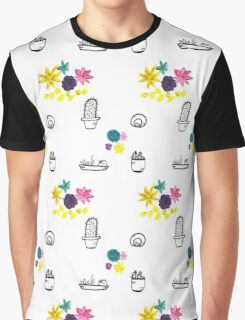 Succulents And Cacti Pattern Graphic T-Shirt