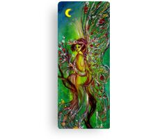 GREEN FAIRY WITH GOLD SILVER SPARKLES IN MOONLIGHT Canvas Print