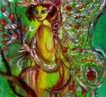 GREEN FAIRY WITH GOLD SILVER SPARKLES IN MOONLIGHT Sticker