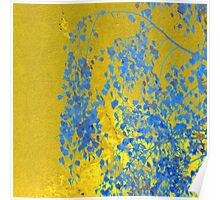 Blue leaves on gold Poster