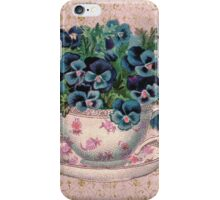 Pansies in a teacup, Alice style iPhone Case/Skin