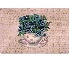 Pansies in a teacup, Alice style Photographic Print