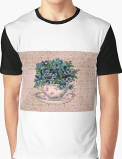 Pansies in a teacup, Alice style Graphic T-Shirt