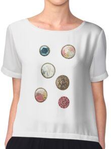 Alice in Wonderland buttons Chiffon Top