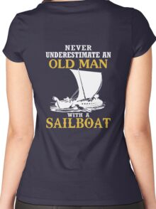 Old Man With A Sailboat Women's Fitted Scoop T-Shirt