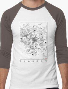Glasgow Map Schwarzplan Only Buildings Urban Plan Men's Baseball ¾ T-Shirt