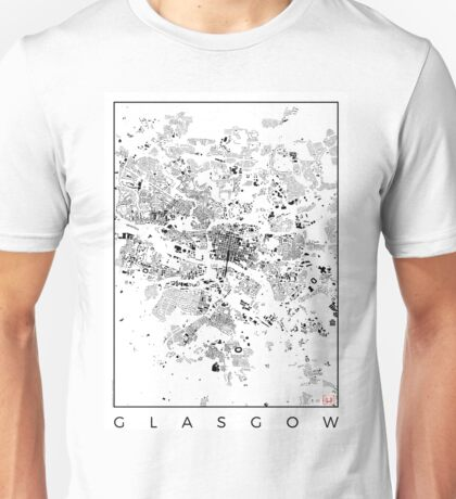 Glasgow Map Schwarzplan Only Buildings Urban Plan Unisex T-Shirt
