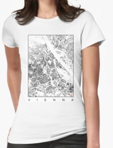 Vienna Map Schwarzplan Only Buildings Urban Plan Womens Fitted T-Shirt