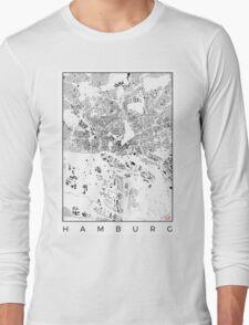Hamburg Map Schwarzplan Only Buildings Urban Plan Long Sleeve T-Shirt