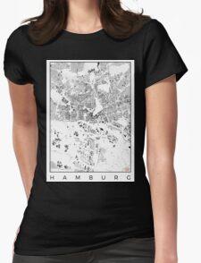 Hamburg Map Schwarzplan Only Buildings Urban Plan Womens Fitted T-Shirt