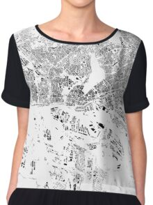 Hamburg Map Schwarzplan Only Buildings Urban Plan Chiffon Top