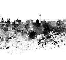 Berlin skyline in black watercolor by paulrommer