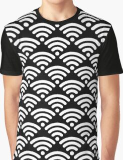 WiFi Pattern White on Black Graphic T-Shirt