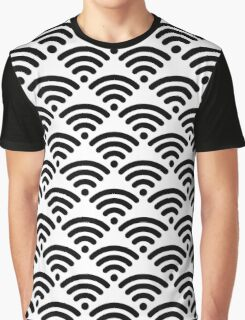 WiFi Pattern Black on White Graphic T-Shirt