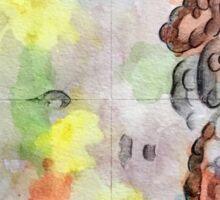 Bubble within a bubble. watercolour and graphite pencil on paper. Sticker