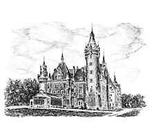 Ink graphics - Castle in Moszna, Poland Photographic Print