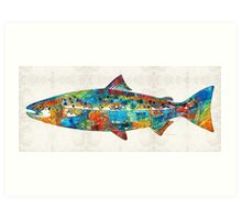 Fish Art Print - Colorful Salmon - By Sharon Cummings Art Print