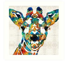 Colorful Giraffe Art - Curious - By Sharon Cummings Art Print