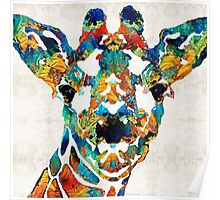 Colorful Giraffe Art - Curious - By Sharon Cummings Poster
