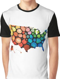 United States of America Map 1 - Colorful USA Graphic T-Shirt
