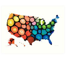 United States of America Map 1 - Colorful USA Art Print