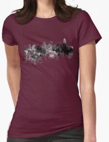 Cincinnati skyline in black watercolor Womens Fitted T-Shirt