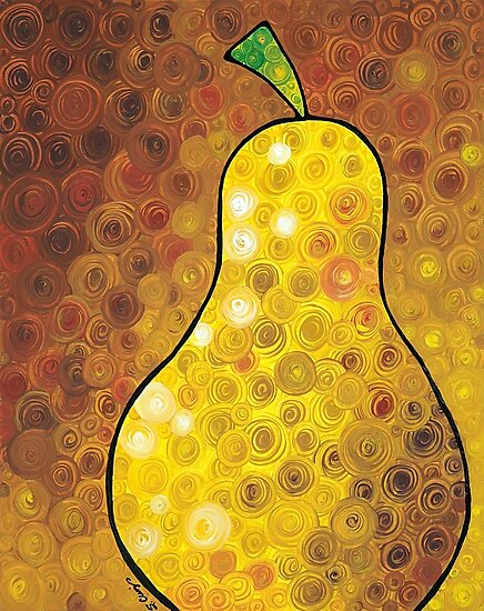 Golden Pear - Yellow Pear Art Print by Sharon Cummings