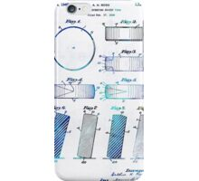 Blue Hockey Art - Hockey Puck Patent - Sharon Cummings iPhone Case/Skin