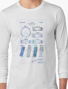Blue Hockey Art - Hockey Puck Patent - Sharon Cummings Long Sleeve T-Shirt