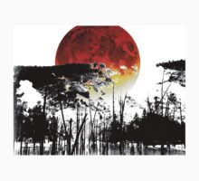 The Red Moon - Landscape Art By Sharon Cummings Kids Tee
