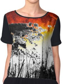 The Red Moon - Landscape Art By Sharon Cummings Chiffon Top