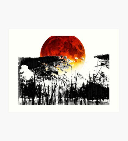The Red Moon - Landscape Art By Sharon Cummings Art Print