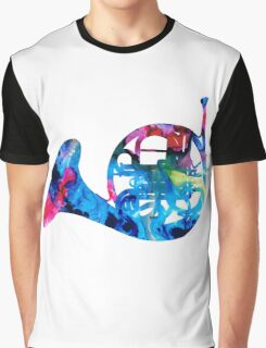 Colorful French Horn 2 - Cool Colors Abstract Art Sharon Cummings Graphic T-Shirt