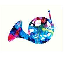 Colorful French Horn 2 - Cool Colors Abstract Art Sharon Cummings Art Print