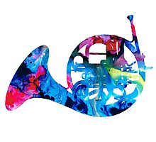 Colorful French Horn 2 - Cool Colors Abstract Art Sharon Cummings Photographic Print