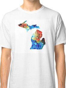 Michigan State Map - Counties By Sharon Cummings Classic T-Shirt