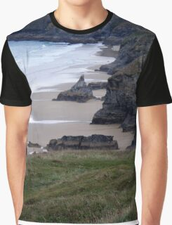 Bedruthan Steps, Newquay, Cornwall Graphic T-Shirt