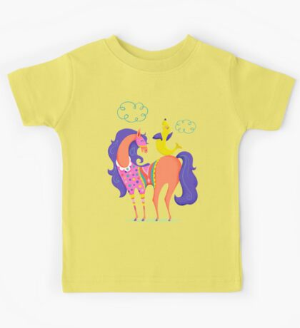 Circus Horse and Sealion, cute character illustration Kids Tee