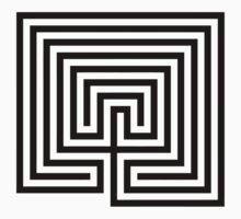 Cretan labyrinth black and white  One Piece - Short Sleeve
