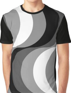 Large Seventies zigzag black and white waves Graphic T-Shirt