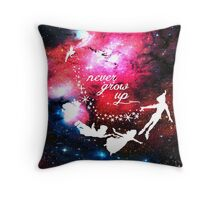 Never Grow Up Galaxy Throw Pillow