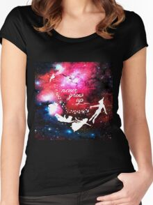 Never Grow Up Galaxy Women's Fitted Scoop T-Shirt
