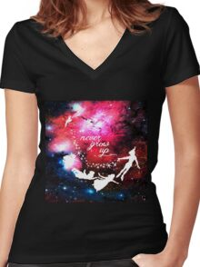 Never Grow Up Galaxy Women's Fitted V-Neck T-Shirt