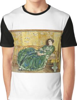 Childe Hassam - April The Green Gown ,American Impressionism Woman Portrait Fashion  Graphic T-Shirt