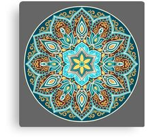 Flower Mandala in turquoise colors.  Canvas Print