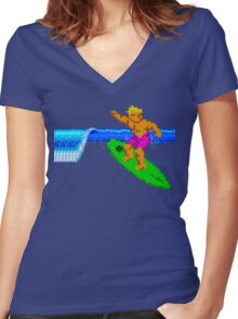 CALIFORNIA GAMES - SURFING - MASTER SYSTEM Women's Fitted V-Neck T-Shirt